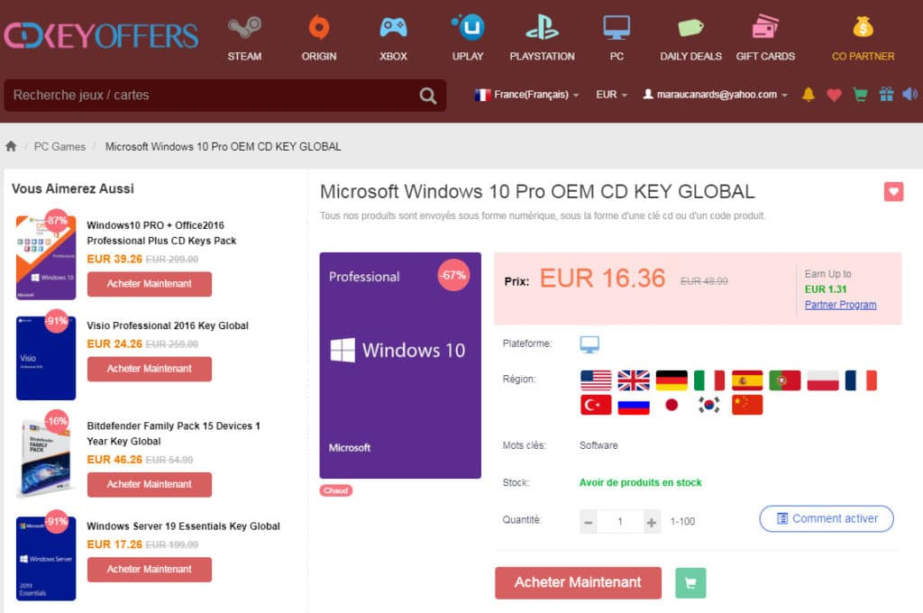 Image 1 : 20% de réduction chez CDkeyoffers avec le code TOM20 : Windows 10 Pro passe à 13,09 €