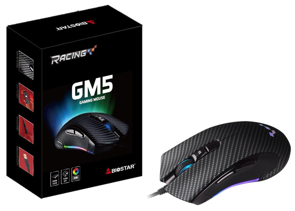 Image 1 : Souris gaming Biostar GM5 : 7200 ppp, ambidextre, destinée au claw-grip