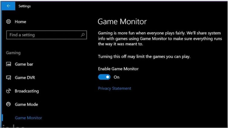Image 1 : Game Monitor : la future police anti-triche de Windows 10 Fall Creators Update