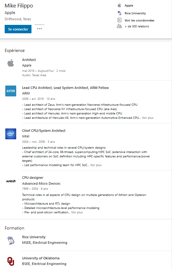 Image 2 : Apple recrute un expert en architecture CPU, ancien de chez ARM