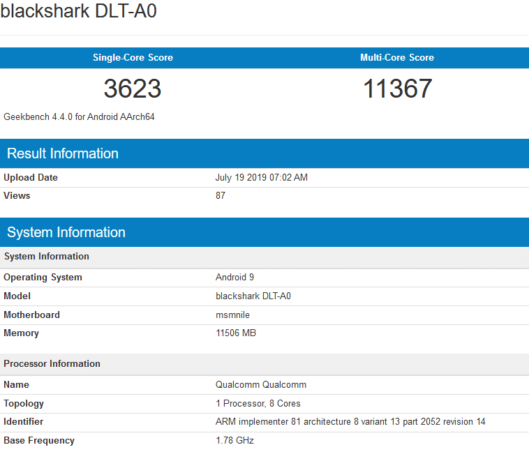 Image 2 : Le Snapdragon 855 Plus se montre sur Geekbench