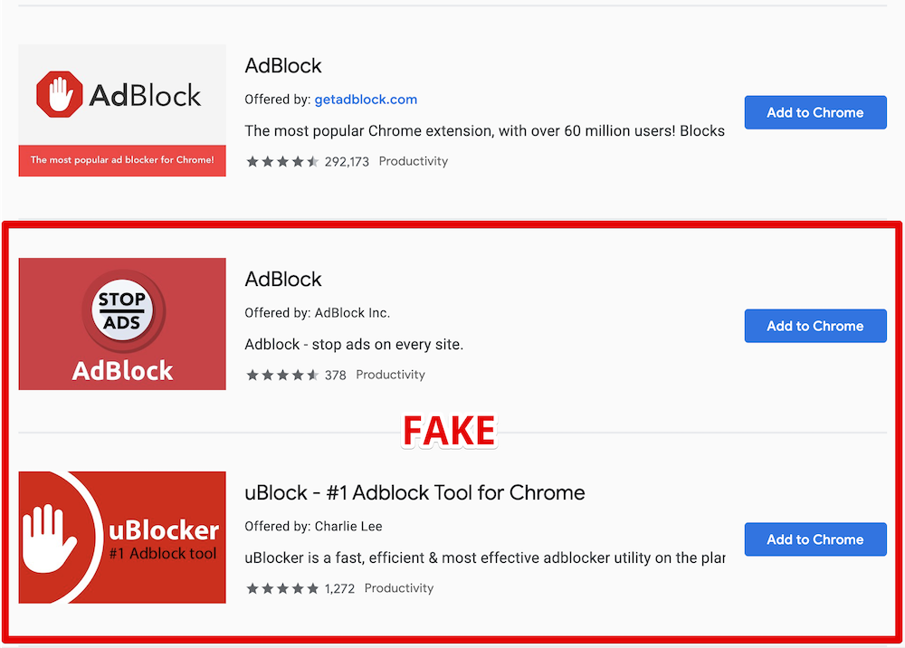 Image 1 : Attention, de faux AdBlock et uBlock sévissent sur le Google Chrome Web Store !