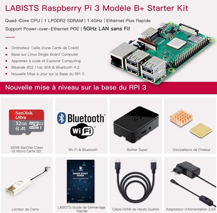 Image 2 : Amazon Prime Day : pack Raspberry Pi 3 Modèle (3B+) Starter Kit à 56,43€