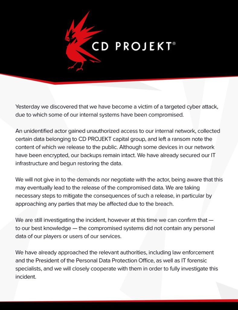 Image 1 : CD Projekt victime d'un piratage : les codes sources de The Witcher 3 et Cyberpunk 2077 dérobés